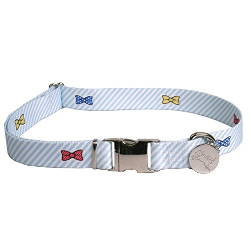 Southern-Dawg-Seersucker-Blue-with-Bow-Ties-Dog-Collar-with-ID-Tag-Small-34-Neck-10-14-Made-in-the-USA-by-Yellow-Dog-Design