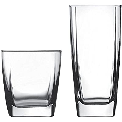 Stylish Easy-o-grip Glass 16-Piece Drinkware Set, Clear (1)