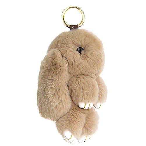 CHUANGLI Lovely Rabbit Doll Bunny Keychain Fur Plush Keyfob Decor for Car Accessories Champagne ()