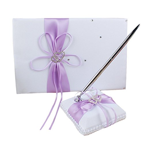 Wedding Guest Book and Pen Set Light Purple with Double Heart Rhinestone,Guest Book with Pen for Birthday, Baby Shower, Party Favor