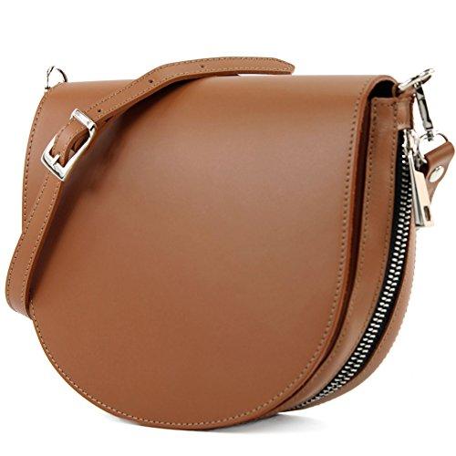 modamoda de - Made in Italy - Bolso al hombro para mujer siehe Beschreibung marrón claro