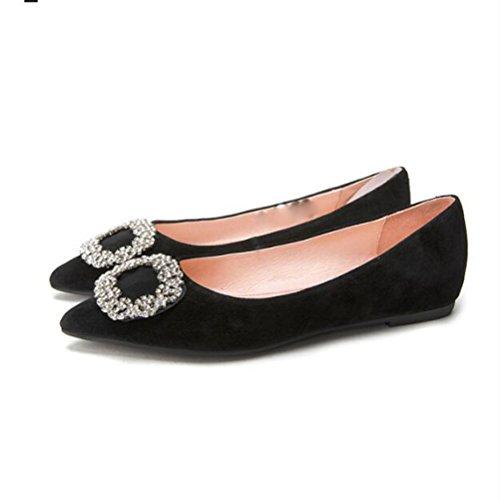 dolce scarpe scarpe profonde piatte signora a DHG rotonda primavera carina 38 punta nero bellezza scarpe bianche nastro Scarpe qwO6t