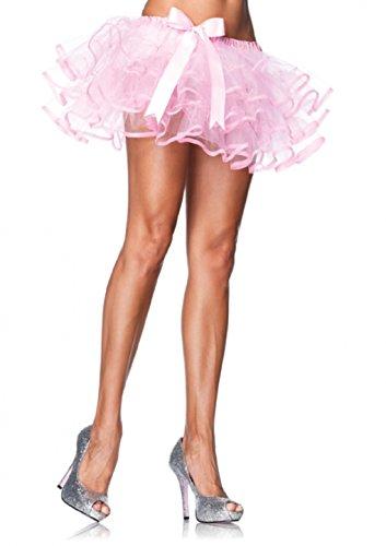 Leg Avenue Ribbon Trimmed Layered Chiffon Petticoat Pink One Size Fits Most