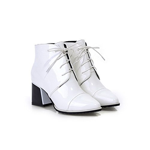 Boots Square Bandage Heels Imitated Leather Heels Womens BalaMasa Kitten White Fvpxw8qHnf