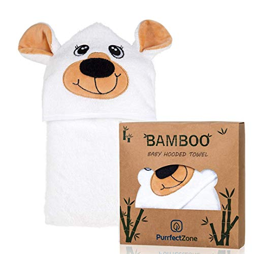 PurrfectZone Large Ultra Soft Organic Bamboo Hooded Towels for Kids and Toddlers (Bear, Brown) (Hooded Organic Animal)