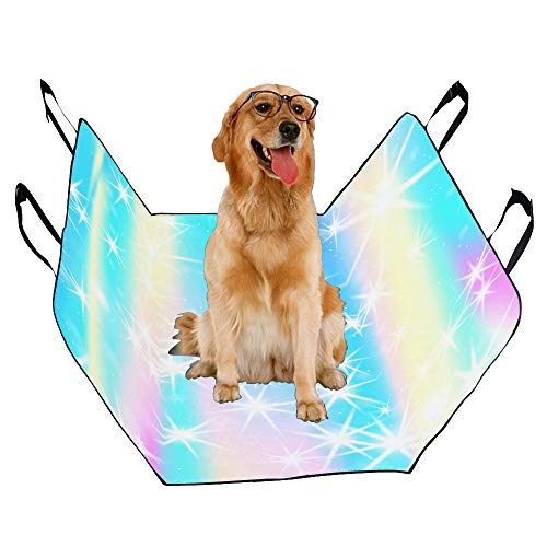 VNASKL Dog Seat Cover Custom Rainbow Mermaid Unicorn Color Printing Car Seat Covers for Dogs 100% Waterproof Nonslip Durable Soft Pet Car Seat Dog Car Hammock for Cars Trucks SUV