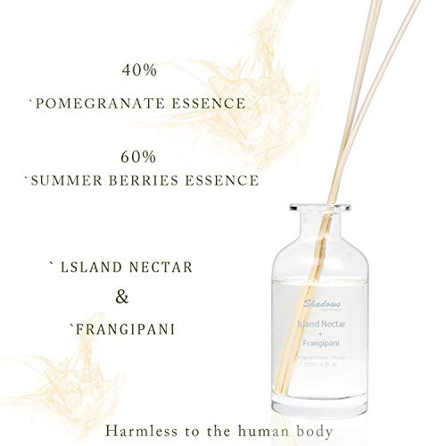 Coco Aromas Oil Reed Diffuser Sets Natural Sandalwood Diffuser Great Room Diffusers with Sticks for Healthy Life (Island Nectar & Frangipani)