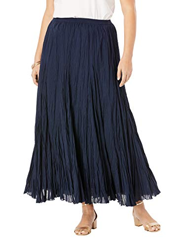 Jessica London Women's Plus Size Cotton Crinkled Maxi Skirt - 24, Navy