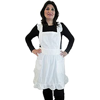 IB-ON Apron for Women & Girls with pockets plus sizes White Custom Printable Lovely White Apron for Cooks Bakers and Chefs, Servers & Waitresses Comfortable Fabric Packaged in a Beautiful Gift Box