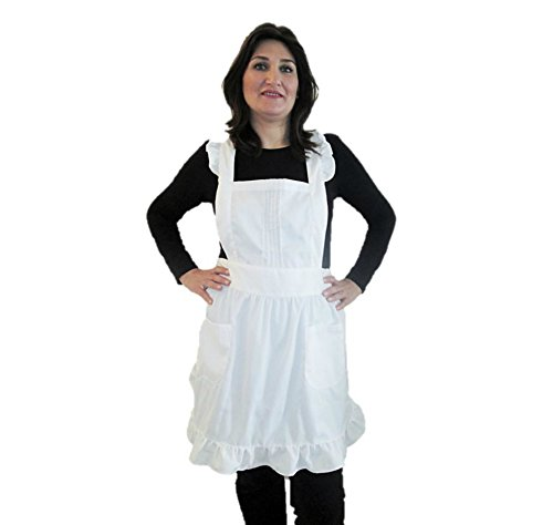 IB-ON Apron for Women & Girls with Pockets Sizes S-XL White Custom Printable Lovely White Apron for Cooks Bakers and Chefs, Servers & Waitresses Comfortable Fabric Packaged in a Beautiful -