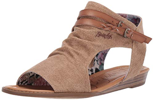 Blowfish Women's Blumoon Wedge Sandal, Sahara Rancher Canvas/Wheat Dyecut, 8.5 Medium US