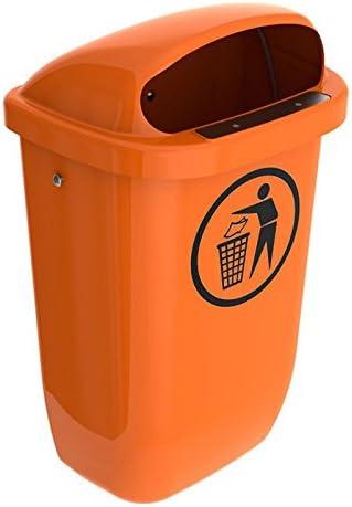 SULO Papierkorb Mülleimer Außenbereich DIN PK, Inhalt 50 l Orange