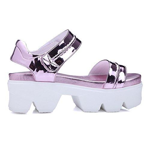 AllhqFashion Women's Open Toe Hook And Loop Blend Materials Solid High Heels Sandals Purple ZqvjNHi