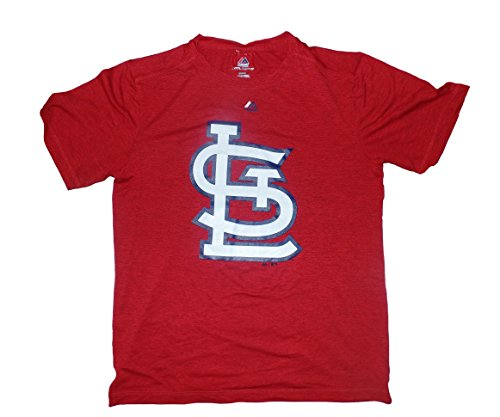 Majestic St. Louis Cardinals Heathered Red Synthetic Performance Official Logo T-Shirt Medium (Louis Gear Cardinals)