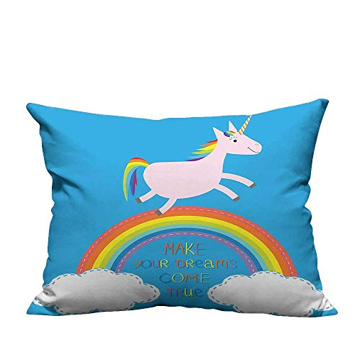 (YouXianHome Decorative Throw Pillow Case Rainbow Unicorn Motivati al Image Blue Pink Ideal Decoration(Double-Sided Printing) 24x24)