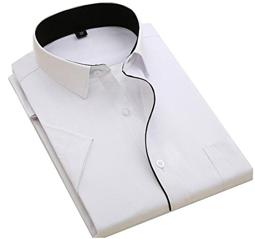 (Generic Men's Short-Sleeved Work Wear Business Shirt Dress Shirt AS17 US L)