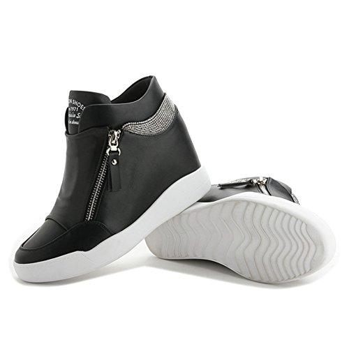 Giy Damesmode Hoge Top Ronde Neus Wedge Sneakers Platform Verhoogde Hoogte Casual Sportschoenen Met Cz Zwart