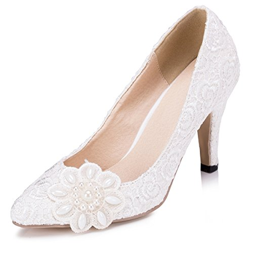 Kevin Fashion ZMS1538 Womens Elegant Flowers Lace Bridal Wedding Party Evening Prom Pumps Shoes Ivory ireuC5gegQ