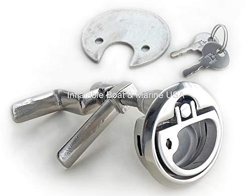 Boat Hatch Lift Ring Handle-Turning Cam Lock Latch-Locking w/Key - Marine 316 Stainless Steel ()