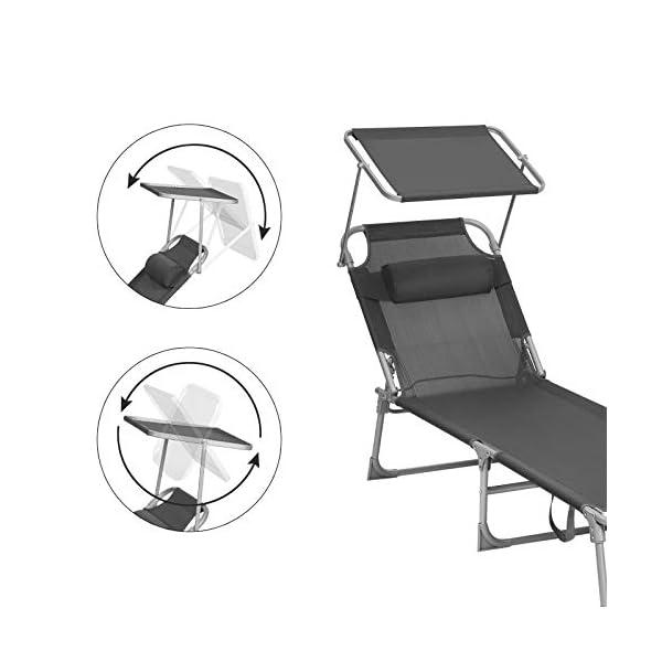 41rmww4Ht5L SONGMICS Sonnenliege, Liegestuhl, Gartenliege, mit Kopfstütze und Sonnendach, Rückenlehne verstellbar, leicht, klappbar…
