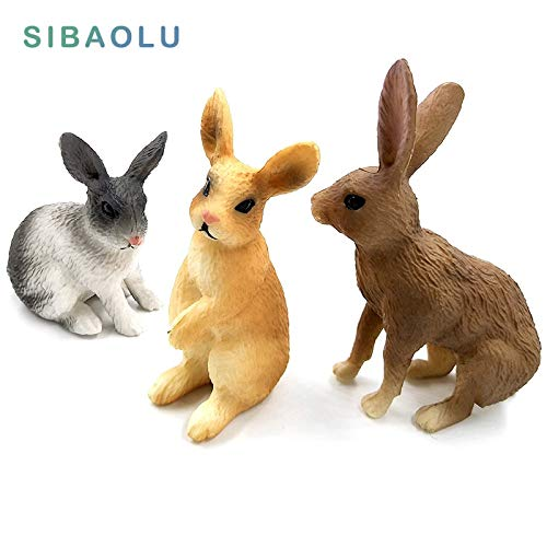 ZANAN Figurines & Miniatures - Simulation Mini Rabbit Animal Model Figure Hare Figurine Home Decor Miniature Fairy Garden Decoration Accessories Modern Statue 1 PCs