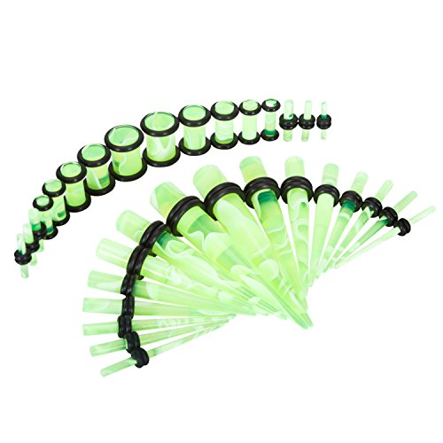 BodyJ4You 32PC Gauges Kit Ear Stretching 14G-0G Green White Marble Acrylic Taper Plug Piercing