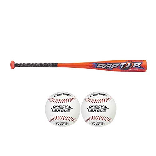 Rawlings Raptor Youth USA Baseball Bat with 2 Official League Baseballs (28