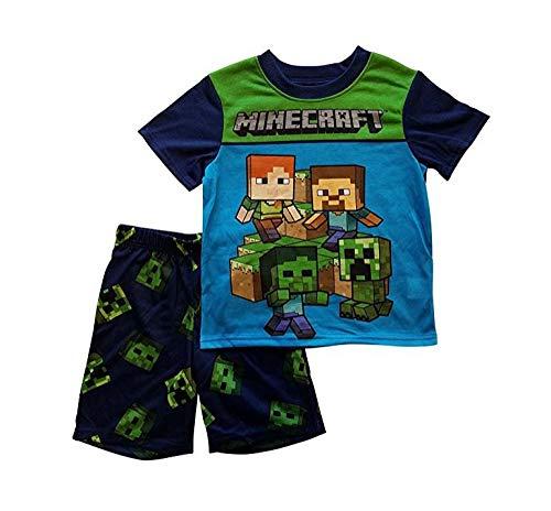 AME Minecraft Steve Creeper Pajama Sleep Wear Set For Boys,Blue,(Large (10/12))