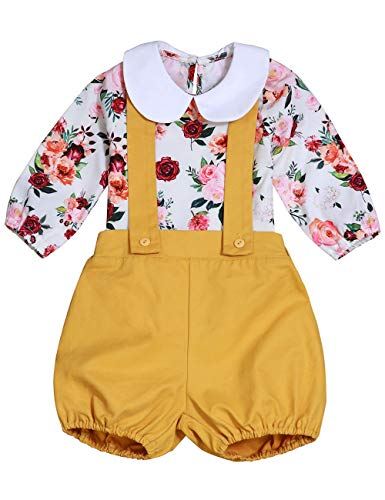 Baby Girl Floral Suspenders Pants Set Long Sleeve Flower Top + Short Overalls 18-24 Months