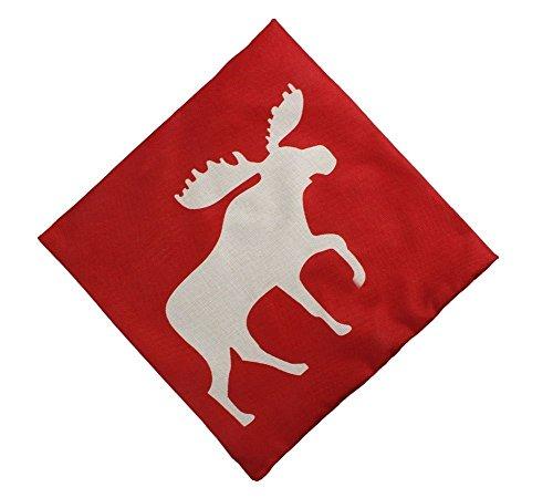 DECORLUTION 18x18 Inch Cotton Linen Decorative Throw Pillow Cover Cushion Case, Holiday Moose