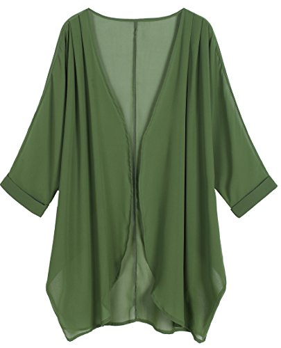 Green Print Floral (OLRAIN Women's Floral Print Sheer Chiffon Loose Kimono Cardigan Capes (Medium, Deep Green))