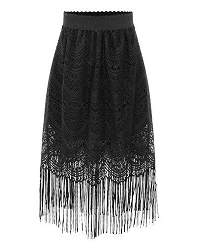 Jupe Mi-longue lgant Dentelle Taille Haute Bande Elastique Jupe pour Femme Noir