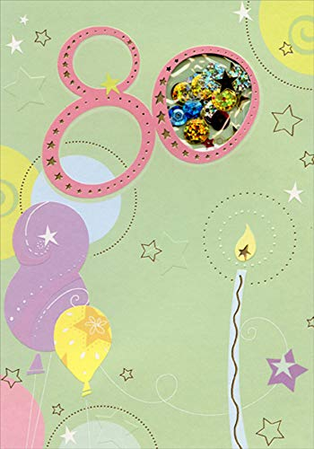 Designer Greetings Balloons and Single Tall Candle Sequin Filled Die Cut Window Age 80 / 80th Birthday Card