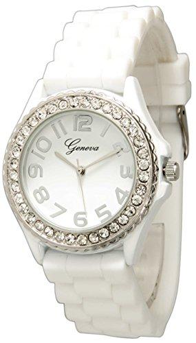 Geneva Silicone Watch Unisex Crystals Rhinestones Wrist Watch Medium Size Dial (White) (White Geneva Watches For Men)