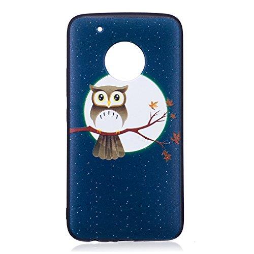 Trumpshop Smartphone Carcasa Funda Protección para Motorola Moto G5 + Gongfu Panda + Serie Talla Ultra Suave Flexibles TPU Silicona Resistente a arañazos Caja Protectora Claro de luna y búho
