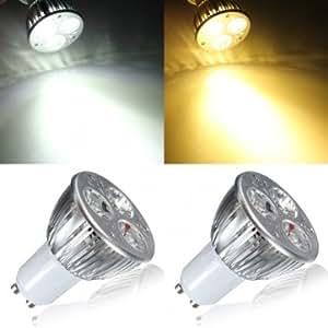 GU10 6W White/Warm White 3LED Spot light Bulb LED Lamp Light AC85-265V --- Color:White