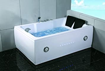 72u0026quot; Bathtub Jetted Whirlpool 2 Person White 14 Massage Jets Built In  Heater Waterfall