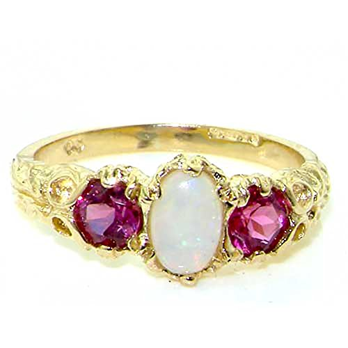 - LetsBuyGold 14k Yellow Gold Real Genuine Opal and Pink Tourmaline Womens Band Ring - Size 7