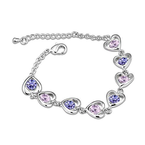 Beydodo White Gold Plating Bracelet For Women (Link-Bracelets),Austria Crystal Love Heart Purple CZ (Long Link Stampato Bracelet)