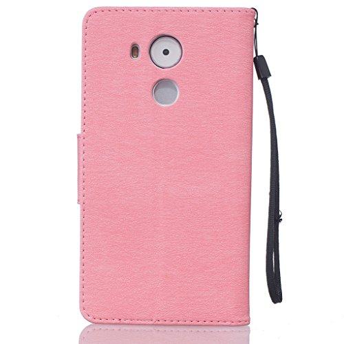 Trumpshop Smartphone Carcasa Funda Protección para Huawei Y5 II (Serie Pluma) + Negro + PU Cuero Caja Protector Billetera Choque Absorción [No es compatible con Huawei Y5] Rosado