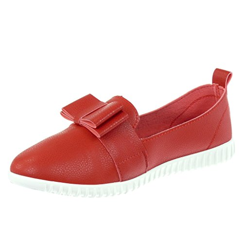 Angkorly Women's Fashion Shoes Trainers - Slip-On - Knot - Node - Grained Flat Heel 2 cm Red hHiz7
