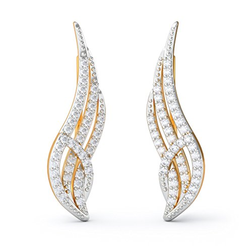 18 K Or jaune 0,46 CT TW White-diamond (IJ | SI) Boucles d'oreille à tige