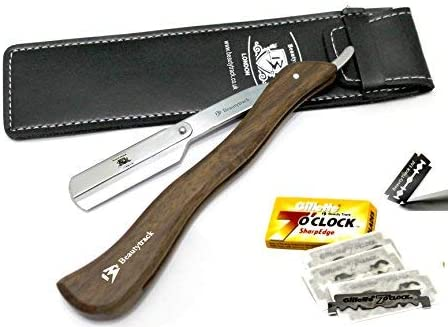 BeautyTrack Mango de madera Navaja profesional de barbero afeitadora manual tradicional vertical + funda gratis + cuchillas: Amazon.es: Salud y cuidado personal