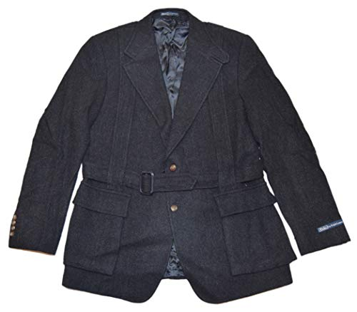 (Ralph Lauren Polo Mens Hacking Wool Blazer Belted Jacket Italy Black Grey 44L)