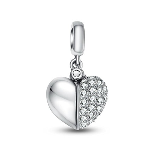 Crystal I Love You Constantly Open Heart 925 Sterling Silver Bead -
