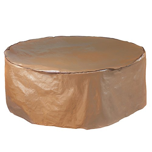 (Abba Patio Outdoor Round Table and Chair Set Cover Porch Furniture Cover Waterproof, Brown, 84'' Dia.)