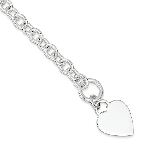 Cœur en argent sterling Fancy Disque à bascule-Bracelet Femme-20cm