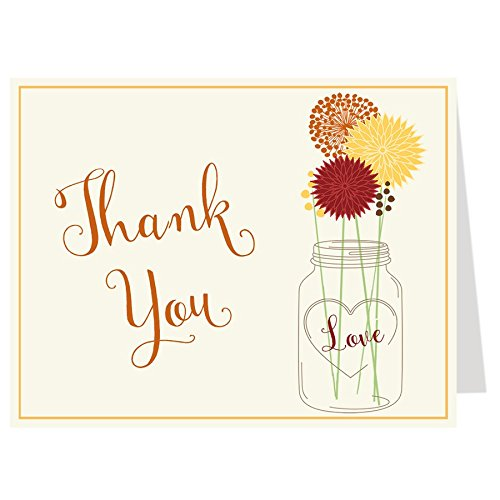 Mason Jar, Flowers, Thank You Cards, Bridal Shower, Yellow and Gray, or Pink and Gray, Cottage Chic, Set of 50 Folding Notes with Envelopes, (Autumn Red) (Cottage Jar)