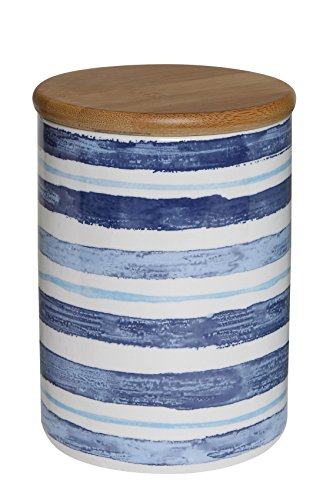 Creative Co-op Round Ceramic Jar with Blue Stripes and Bamboo Lid by Creative Co-op