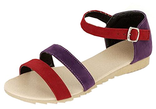 Easemax Women's Comfy Open Toe Ankle Strap Faux Suede Flat Sandals 41rn Vd95BL home Home 41rn Vd95BL